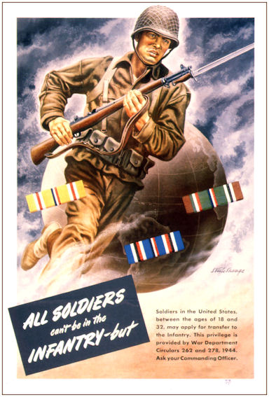 """All Soldiers Can't Be Infantry"" World War Two Color Poster"