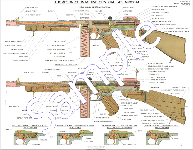 Machineguns blueprints posters mouse pads coffee mugs color m1928a1 thompson smg army map service lithograph malvernweather Gallery