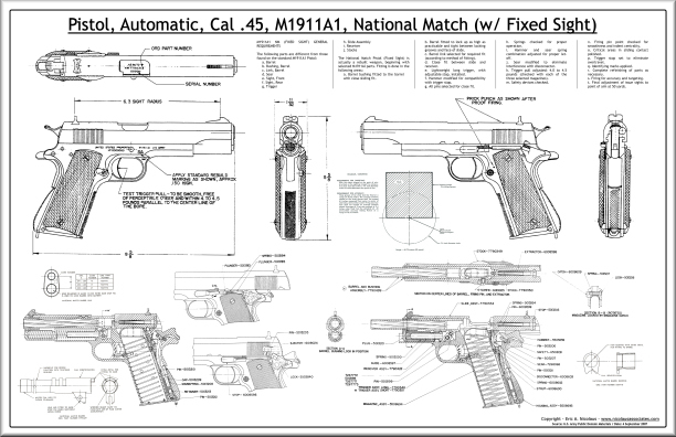 M1911 revolver blueprints posters mouse pads coffee mugs m1911a1 national match fixed sight poster malvernweather Gallery